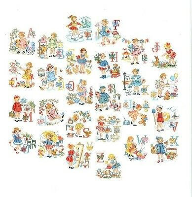 Vintage Little Girl Alphabet Cross Stitch Chart