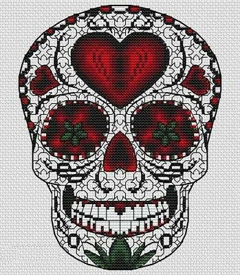 Sugar Skull Heart cross stitch chart