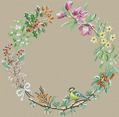 Wild Flowers Wreath cross stitch chart