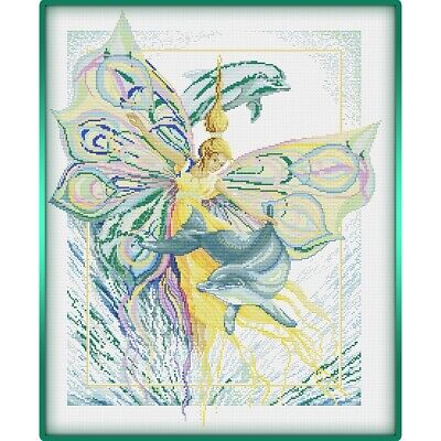 Dancing with Dolphins Fairy cross stitch chart
