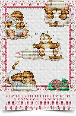 Baby Otter Birth Sampler Cross Stitch Charts