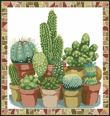 Cactus Cross Stitch Chart Digital Format
