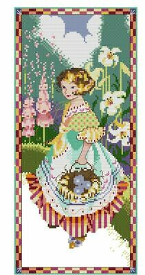Gathering Easter Eggs Cross Stitch Chart