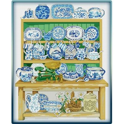 Kitchen Shelves Cross Stitch Chart