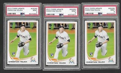 2013 Topps Update Christian Yelich PSA 9. 3 Card Lot
