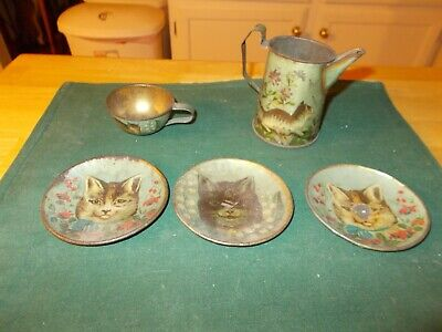 Late 1800S Victorian Tea Set With Tabby Cats Five Pieces Coffee Pot Cup Three Pl
