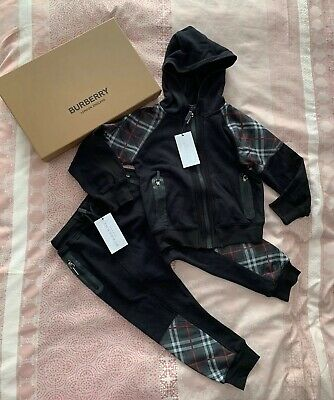 BNWT Burberry Kids Boys Black Check Panel Hooded Top & Pants Size 6Y $630
