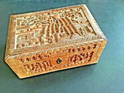 19Th Century China Chinese Canton Carved Export Box 十九世纪广州出口过洋古董盒