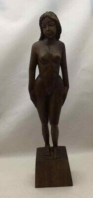 Native Woman Hand-Carved Sculpture - Vintage Philippine Hardwood - tall 18.5""