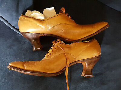 Genuine Antique Edwardian Altered Mustard/Tan Stacked Heel Shoes Larger Size