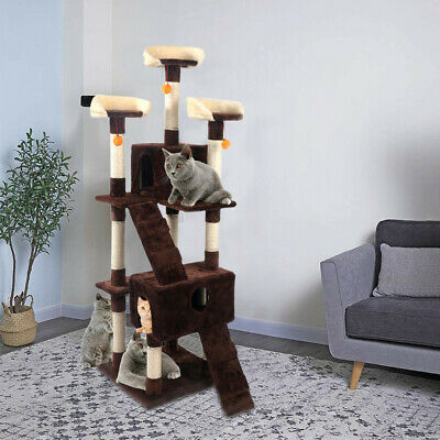 66inch Scratching Post Cat Tree House Condo Tower Play Kitty Climbing Furniture