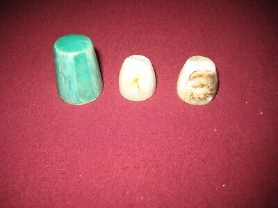 Nephrite Jade & Marble Thimbles x 3