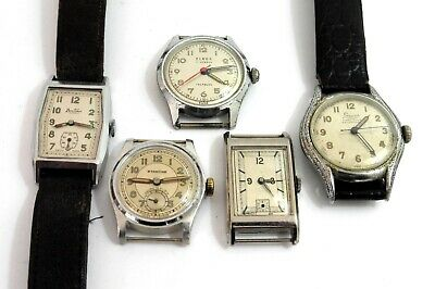 8) 1930-40s GENTS GOOD QUALITY ART DECO WATCHES .ALL RUN NEED SERVICING,ETC