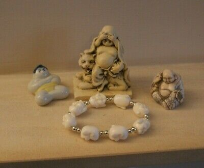 Vintage Mixed Chinese Ornaments/ Bracelet Oriental Buddha/ Sumo Figures