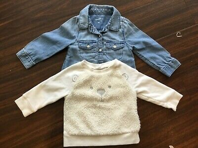 Baby Gap Denim Shirt + White Jumper size 6 - 12 months