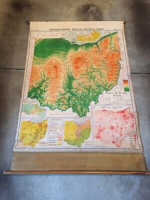 Vintage Pull Down Map of Ohio - 1952 Physical Political made in Chicago