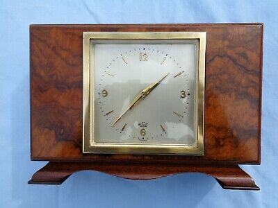 Vintage Elliott French Escapement 11 Jewel Walnut Mantle Clock 8 Day Gwo Oiled