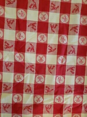 """VINTAGE COTTON RED & WHITE CHECKED PICNIC TABLECLOTH  185 """"×51.5"""" cutter"""