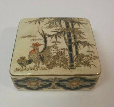 "Antique Japanese SATSUMA 3.25"" Box, Rooster & Bamboo, Meiji Period"