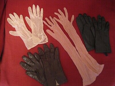 Original 1950's Vintage Ladies Gloves, Size 6.5, Lace/Leather (4 Pairs)