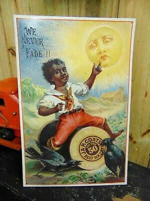 J & P Coats We Never Fade Black Americana Metal Embossed Sign Vintage Style
