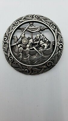 Rare Large Antique 1888-1925 DAVID ANDERSEN 830 SILVER NORWEGIAN BROOCH