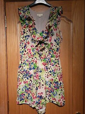 Monsoon Playsuit, UK10, Button Through, Ruffle Front