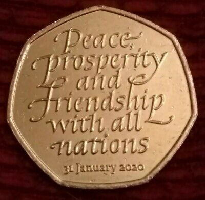 BREXIT 50p coin fifty pence 31st January 2020. Peace, Prosperity & Friendship. C