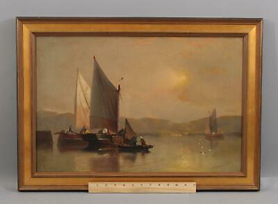 19thC Antique Luminist Sunset Maritime Sailboat Fishing Boat Harbor Oil Painting