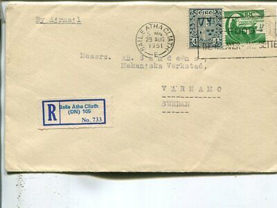 Ireland reg air mail cover to Sweden 1951