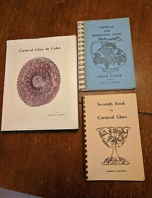 3 1960s books on Carnival Glass/Iridescent Glass, Identification/Prices/Patterns