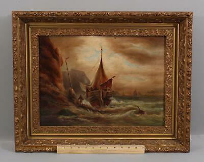 19thC Antique American Maritime Fishing Boat Seascape Oil Painting & Gilt Frame