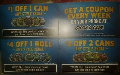 $7 in Skoal Coupons (exp 4/30/20) Ships fast!