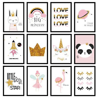 Girls Nursery Bedroom Glitter Quote Art Prints Wall Art A3/A4/A5 Posters