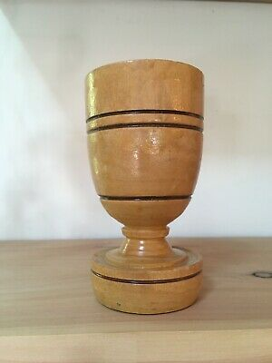 Vintage Turned Wood Cup Goblet 8oz Drinking Chalise Handmade Wine Glass