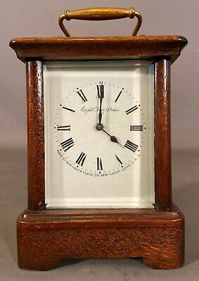 Vintage NEW HAVEN Old WOOD & BRASS Antique CARRIAGE Style SHELF Desk CLOCK