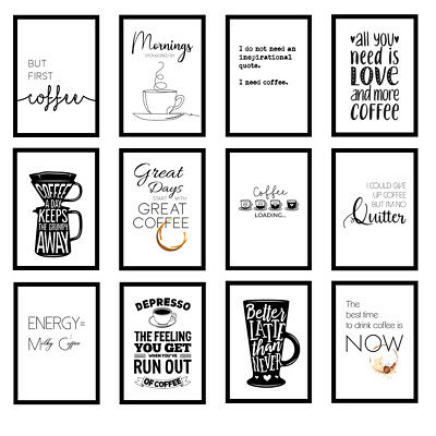 Coffee Kitchen Quote Modern Home Office Art Prints Wall Art A3/A4/A5 Posters