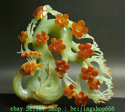 "10"" Chinese Natural Xiu Green Jade Jadeite Carved Phoenix Plum Blossom Sculpture"