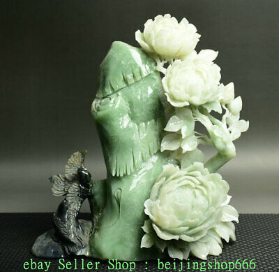 "10"" Chinese Natural Xiu Green Jade Jadeite Carved Peony Flower 2 Bird Sculpture"