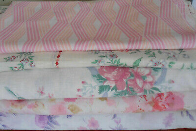 Bulk Vintage Floral  Pink Purple Toned Tablecloths Sheets Fabric Material