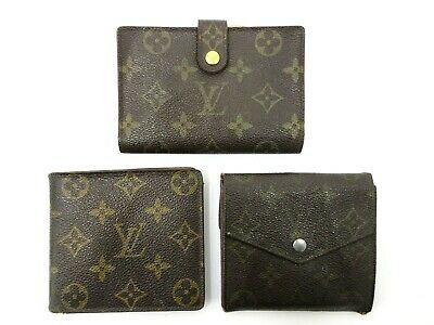 Authentic 3 Item Set LOUIS VUITTON Monogram Wallet PVC Leather 82995