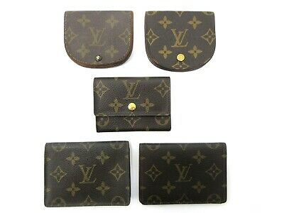 Authentic 5 Item Set LOUIS VUITTON Monogram Coin Purse Pass Case 82710