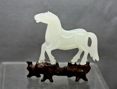 Fantastic Vintage Chinese Hand Carved White Jade Horse Rosewood Stand