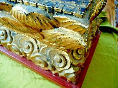 Antique wooden hand carved distressed gold painted stand