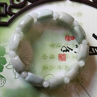 100% Natural Grade A Untreated Light Green Jadeite JADE Turtle Shell Bracelet