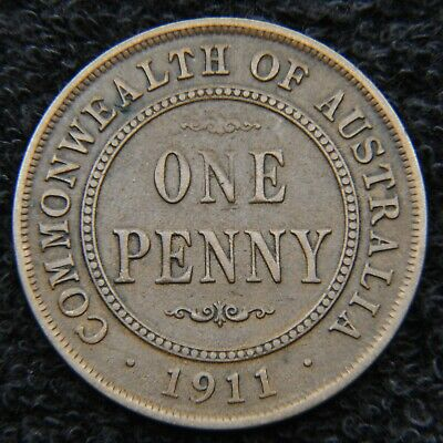 Pre-decimal coin - 1911 Penny - foundational date - brown patina