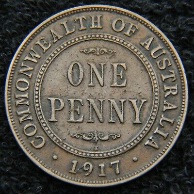 Pre-decimal coin - 1917 I Penny - scarcer date - 6 pearls