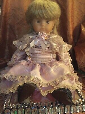French Doll 1980s with beautiful Pink lace dress.60cm Tall
