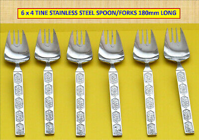 6 x 4 TINE STAINLESS STEEL FORKS – ROSE MONTIF HANDLES 180mm LONG...#
