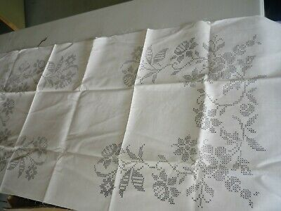 """Flowers"" - Cross Stitch Table Runner  And Two Napkins"